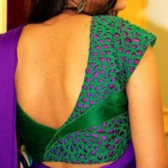 Violet with green cut work blouse Pattu Saree Blouse Designs, Stylish Blouse Design, Fancy Blouse Designs, Blouse Neck Designs, Pattern Blouses For Sarees, Blouse Styles, Cut Work Blouse, Designer Blouse Patterns, Bollywood