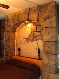 Headboard with vertical concrete handcarved, texturized and colored. What an amazing dream bedroom u could have.