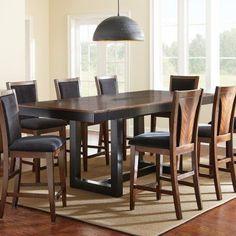 Steve Silver Julian Counter Height Dining Table - Black Walnut Zebra Wood & Black - SSC2082-1