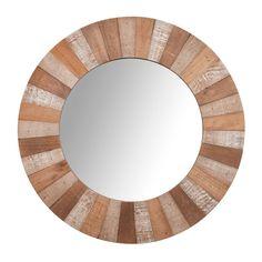 Espejo redondo con marco de madera D 60 cm KARI