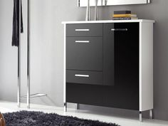 Orion 3 door and 1 drawer shoe cabinet in black glass with white frame  #home #interiordesign #contemporaryfurniture #furniture #house #interiors