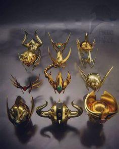 Os elmos das 12 armaduras de ouro! Crédito