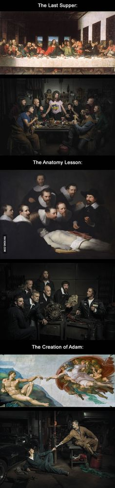 Renaissance artworks re-created in a Midwest auto shop - 9GAG