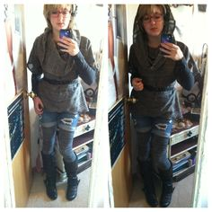 Fall/winter style: sweater tights, material girl boots, boyfriend shorts, hooded smock by Timbre Wolf Designs  :)