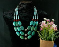 Turquoise Necklace - Ethnic Jewelry - Chunky Beaded - MultiStrand - Statement Necklace - Beadwork - Strand Necklace - Ancient Jewelry