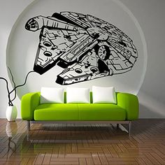 Fange DIY Removable Star Wars Millennium Falcon Vinyl Waterproof Wall Stickers Living Room Decor Bedroom Decal Sticker 34.6''x22.4'' -- Be sure to check out this awesome product. (This is an affiliate link) #WallStickersandMurals