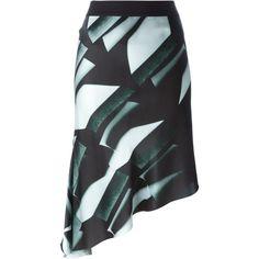 Ann Demeulemeester Asymmetric Skirt (1.620 RON) ❤ liked on Polyvore featuring skirts, ann demeulemeester, mint skirts, mint green skirt, silk skirt and asymmetrical skirt
