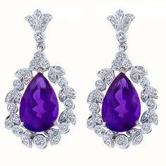 Antique Style 5.42ct Pear Shape Amethyst 0.70ct Round Cut Diamond 14k White Gold Earrings - See more at: http://www.newyorkestatejewelry.com/earrings/edwardian-style-5.42ct-amethyst-0.70ct-diamond-gold-earrings/22596/5/item#sthash.e2McJFdH.dpuf