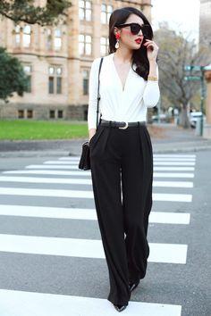 tendances de mode femme printemps- tenue bureau noir et blanc