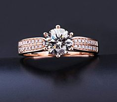 0.6 ct Round Moissanite Engagement Ring, Rose Gold diamond ring,  Engagement Ring