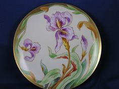 CMC Lewis Straus & Sons (LSS) Limoges Iris Motif Plate (Signed/c.1890-1925)