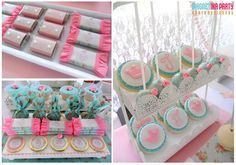 Shabby chic birthday party candy! See more party ideas at CatchMyParty.com!