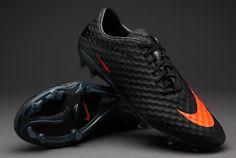 Nike Football Boots - Nike Hypervenom Phantom FG - Firm Ground - Soccer Cleats - Dark Charcoal-Total Crimson-Black