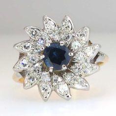 Beautiful 1950's Sparkling Sapphire & Diamond by YourJewelryFinder, $995.00