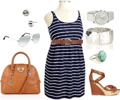 """""""Plus Size Summer Dress - Stripes"""" by alexawebb ❤ liked on Polyvore"""