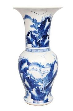 A baluster vase with landscapes. Six-character Kangxi-mark. China, Qing-dynasty (1644-1911). Photo Auktionshaus Stahl
