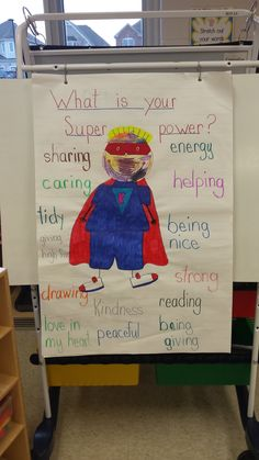 """anchor chart-superhero Continuing our theme of superhero activities (see my previous post here), we have done a few literacy based centers using """"You can be an Everyday Superhero"""". Superhero Preschool, Superhero Classroom Theme, Preschool Classroom, Classroom Themes, Superhero Ideas, Preschool Graphs, Superhero Writing, Superhero Capes, Super Hero Activities"""