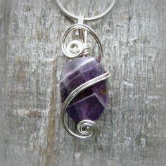 Purple Amethyst Wire Wrapped Pendant Necklace in Silver by CareMoreCreations.com  #Handmade #Jewelry #FebruaryBirthstone