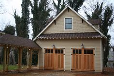 Garage with Breezeway - not quite aligned with house or pergola roof, still works.