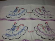 Vintage Pair Pillowcases Southern Belle Hand Embroidered Beautiful Linens