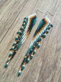 Seed Bead Earrings Fringe Earrings Extra Long by EmeraldArtDesigns Seed Bead Jewelry, Seed Bead Earrings, Fringe Earrings, Beaded Jewelry, Handmade Jewelry, Beaded Bracelets, Seed Beads, Gold Earrings, Peacock Earrings