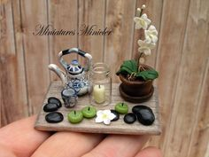 Miniature Dollhouse Decoration Set On The Wooden Board by Minicler, $23.32