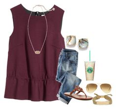 """""""I won't be active today because I will be with Lauren!"""" by pandapeeper ❤ liked on Polyvore featuring H&M, Wrap, Tory Burch, Ray-Ban, Kate Spade and Kendra Scott"""