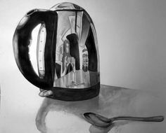 Kettle And Spoon Ink drawing of kettle and spoon reflection 947273 10201201994598648 409653861 N Spoon Drawing, Metal Drawing, Object Drawing, Object Photography, Reflection Photography, Gcse Art Sketchbook, Reflection Art, Surface Art, Observational Drawing