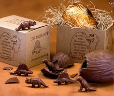 Love these chocoate dinosaur eggs...when you crack them, you'll find baby dinosaurs are inside.