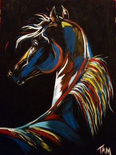 Colorful Horse Painting Dark Horse by GetTAMArt on Etsy