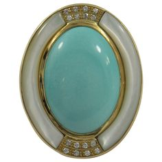 Mother of Pearl Turquoise Diamond Gold Ring | From a unique collection of vintage fashion rings at https://www.1stdibs.com/jewelry/rings/fashion-rings/