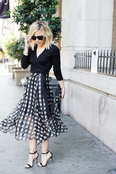 Airy Marissa Webb gingham skirt perfectly paired with a simple black crossover sweater Beauty And Fashion, White Fashion, Work Fashion, Fashion Outfits, Women's Fashion, Office Fashion, Street Fashion, Curvy Petite Fashion, Fashion Sale