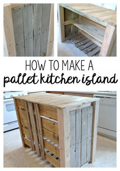 25 Easy DIY Kitchen Island Ideas That You Can Build on a Budget - Check out the tutorial on how to build a DIY pallet kitchen island - March 09 2019 at Pallet Island, Pallet Kitchen Island, Modern Kitchen Cabinets, Diy Cabinets, Kitchen Islands, Kitchen Wood, Kitchen Decor, Kitchen Furniture, Kitchen Storage
