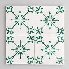 Beja tile - handpainted, handmade patterned green and white tiles from Everett and Blue