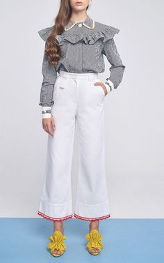 Ruffle Shirt With Embroidered Collar by MARIANNA SENCHINA for Preorder on Moda Operandi