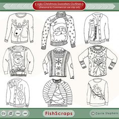 Ugly Christmas Sweater Outlines ClipArt  PNG & Photoshop Brushes - Get ready for your ugly sweater christmas party!   Use these graphics for Personal or small business commercial use