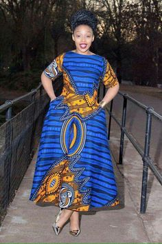 Blue African print dress by EssieAfricanPrint on Etsy ~ African fashion, Ankara, kitenge, Kente, Afr African Dresses For Women, African Print Dresses, African Attire, African Fashion Dresses, African Wear, African Women, African Prints, African Inspired Fashion, African Print Fashion