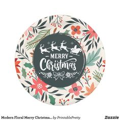 Shop Modern Floral Merry Christmas Poinsettia Pattern Paper Plate created by PrintablePretty. Christmas Clock, Christmas Paper Plates, Christmas Poinsettia, Christmas Countdown, Christmas Ornaments, Kids Christmas, Christmas Party Centerpieces, Christmas Decorations For Kids, Holiday Cards