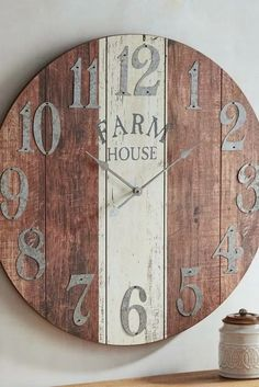your home a farmhouse-style makeover—without all the haymaking and animal-tending. Pier exclusive, oversized Farmhouse Wall Clock boasts an antiqued finish and is a rustic reminder that it's always time for great style. Farmhouse Wall Clocks, Rustic Wall Clocks, Wood Clocks, Rustic Walls, Farmhouse Decor, Farmhouse Style, Farmhouse Ideas, Diy Wall Clocks, Antique Clocks