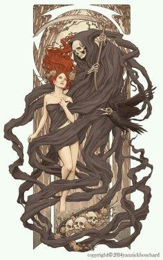 Art Nouveau lady & death