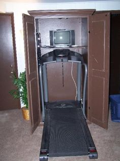 treadmill armoire- I like the idea but it might make me claustraphobic.