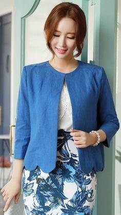 StyleOnme_Scallop Trim Collarless Linen Jacket #blue #elegant #feminine #koreanfashion #kstyle #kfashion #seoul #dailylook