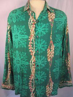 Vintage MAMO HOWELL  Multi-color Greens Mens 100% Rayon Size Large  FREE SHIP #MamoHowell #Hawaiian