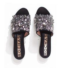 Rochas Black Jeweled Slides / Shop Super Street - 1