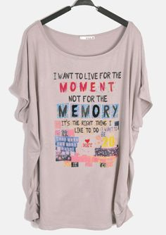 Grey Round Neck Batwing Short Sleeve Letter Print Loose T-Shirt