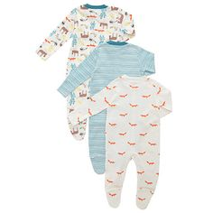 Buy John Lewis Baby's Woodland Sleepsuits, Pack of 3, Multi Online at johnlewis.com