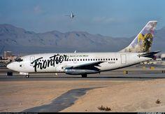 Frontier Airlines Boeing 737-201 N212US prepared for a Runway 01 departure from Las Vegas-McCarran, April 1997. (Photo: Gerhard Plomitzer)