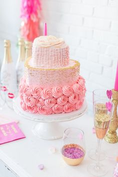 Pink ruffles and rosettes cake