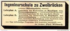 Original-Werbung/ Anzeige 1897 - INGENIEURSCHULE ZU ZWEIBRÜCKEN - ca. 90 x 35 mm