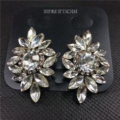 Luxury Crystal Flower Stud Earrings  Fashion Women Jewelry 1121